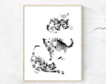 Cat Lounge Print, Busy Doing Nothing, Grey Nursery Print,minimalist wall art, cat art print, abstract cat art, digital cat prints