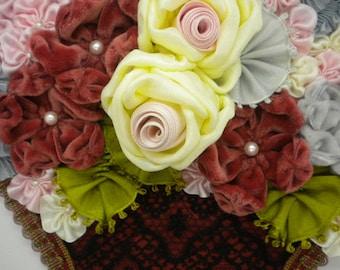 Ribbon Art Three Dimensional Ribbon Flower Basket Applique