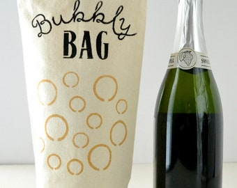 Bubbly Bag Recycled Canvas Hand-Stenciled Champagne Gift Bag