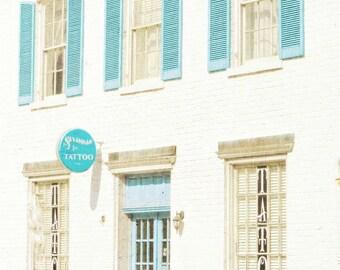 "Architecture Photo, Windows, Savannah Photo, Urban Street Art, Historical Building, Tattoo Parlour, Shopfront, Beige Aqua Decor- ""Tattoo"""