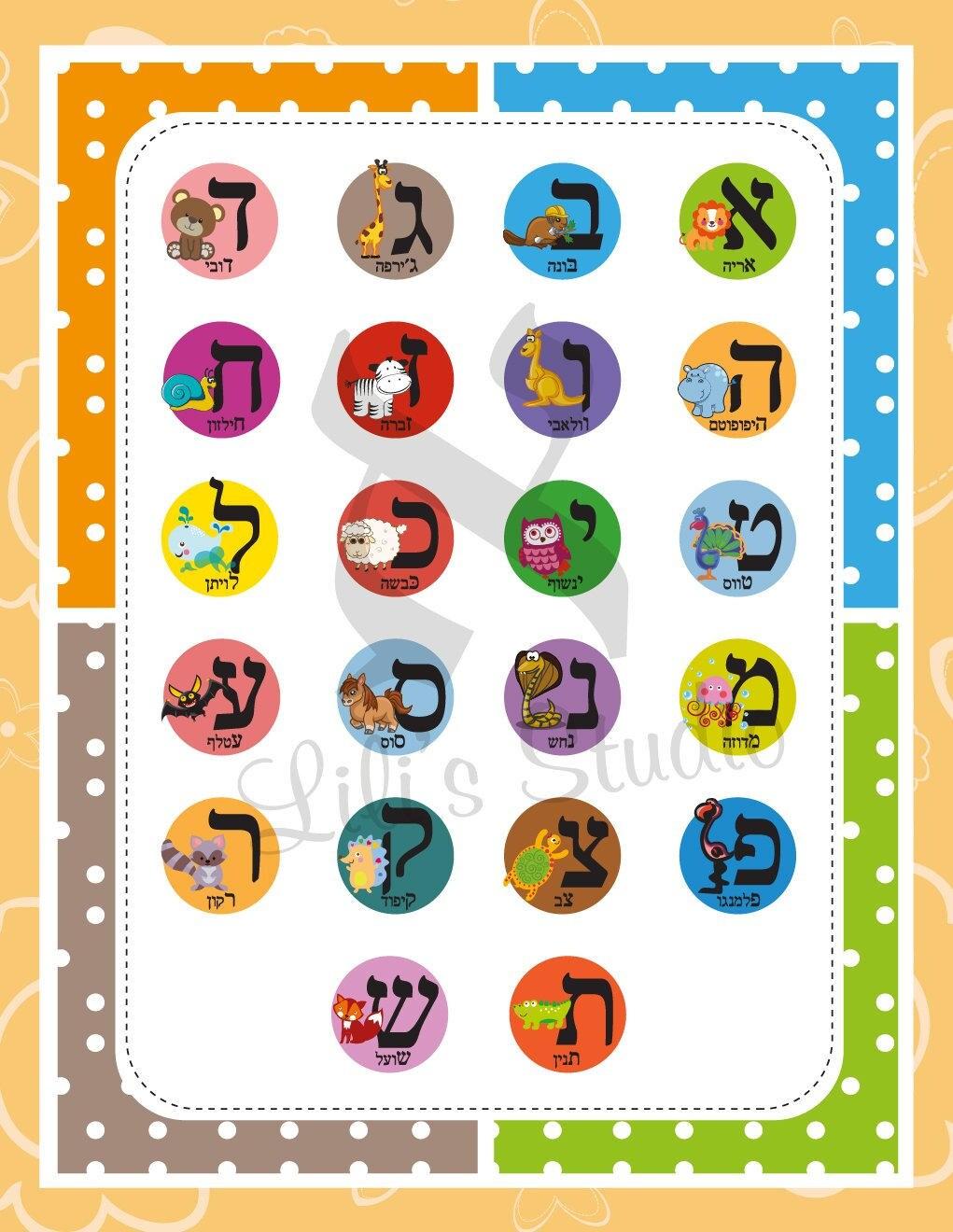 Letras Del Alfabeto Hebreo Animal Cartel Alef Bet Animales Abc # Muebles En Hebreo