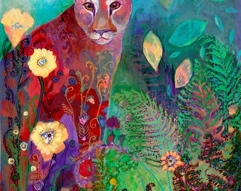 i am the guardian - abstract cougar wildcat Fine Art Print by Jenlo