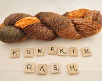 """Hand-dyed yarn, """"Pumpkin Dash"""" variegated, soft and squishy yarn. Great for socks or shawls. 60/20/20 Superwash wool/Nylon/Alpaca"""