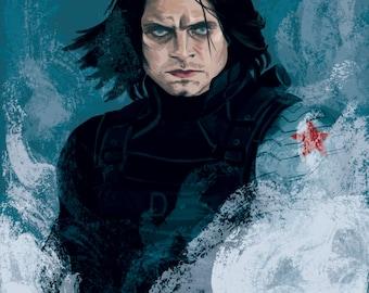 Winter Soldier Bucky Barnes Art Print A4/A3 Sebastian Stan Captain America Civil War Digital Illustration Print