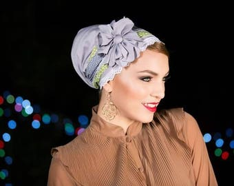 headband mitpachat tichel for women Gray green with white dots and white lace in front and an addition of Halforwhole jewish head covering