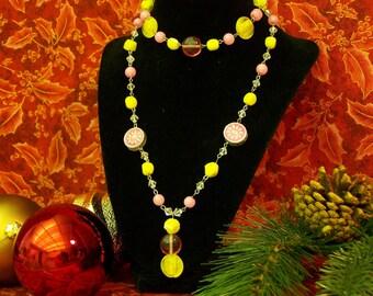 Pink Lemonade Necklace and Bracelet Set
