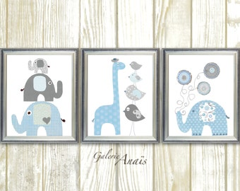 Blue and Gray, Nursery Decor, Boy's Room Decor, Kids wall art, Boy nursery art, Elephant, Giraffe - Set of three prints