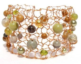 Wide Gold Cuff Bracelet, Colorful Bracelet, Beaded Bracelets, Greenery, Agate Bracelet, Gemstone Bracelet, Arm Cuffs, Handmade Jewelry Gift