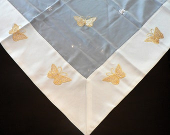 Yellow Beige Chiffon Table Topper with Embroidered Butterflies