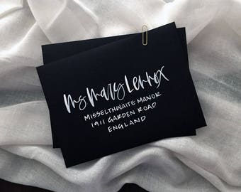 Black and White Envelopes with Hand Lettering, Hand lettered Envelopes, Wedding Envelopes, Calligraphy Envelopes, Brush Hand Lettering