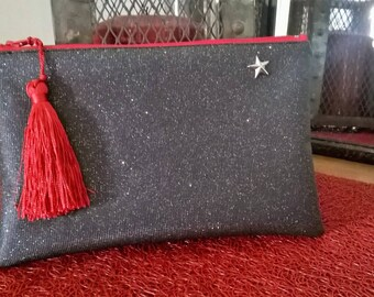 Faux leather, swarovski, accessory pouch, gift