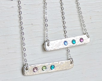 Birthstone Bar Sterling Silver Necklace, Gemstone Bar, Mothers Day Gift, Mothers Jewelry, Dainty Gemstone Bar Necklace, Horizontal Bar