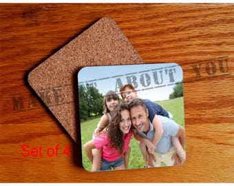 Personalized Drink Coasters, Set of 4 - Square