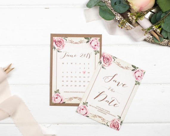 Vintage Save The Date Card - A6 Ivory Floral Framed