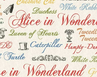 Alice in Wonderland Words Fabric sold by the yard