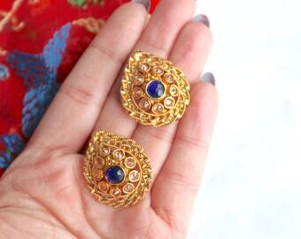 Blue and Gold Indian Studs - Indian Earrings, Indian Jewelry, Indian Wedding Jewelry, Ladies Sangeet Jewelry, Phulkari, Punjabi Jewelry