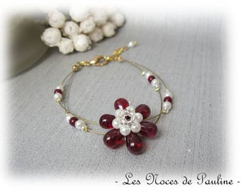 Sophie 2 row 'Tradition' Burgundy, ivory and gold wedding bracelet