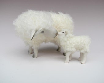 Hand Carved English Cotswold With Lamb Nose to Nose in Porcelain and Mohair