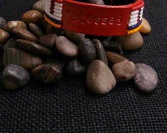 message bracelet, meaning bracelet, inspiring leather cuff bracelet, custom stamped word bracelet
