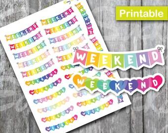 Weekend Deco Sticker, Printable Planner, Printable Sticker, Erin Condren Planner Sticker, Rainbow Weekend