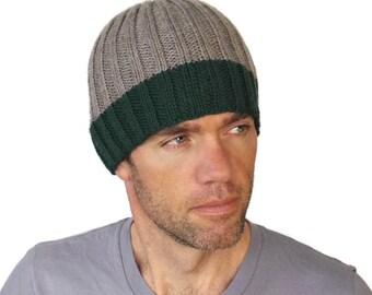 Mens Gray Beanie Mens Hat Mens Merino Wool Hat Jamie Mans Rib Stripe Cap Womens Hand Knit Jade Green Wool Rib Cap Size M/L