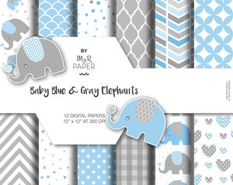 """Elephant digital paper: """"Baby Blue & Gray"""" elephants papers pack of backgrounds and patterns - perfect for Baby Shower"""