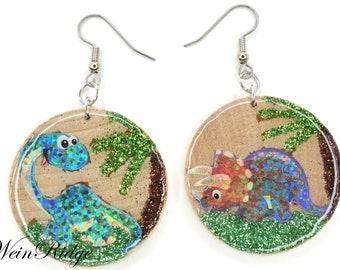 Dinosaur Mismatch Earrings, Dinosaur with Palm Trees Wood Earrings, Glitter Dinosaur Earrings, Wood Glitter Painted Resin Coated Earrings