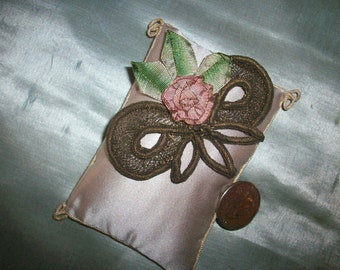 Lovely ribbonwork flower with metal work authentic 1910s to 20s