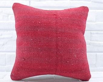 red kilim pillow decorative kilim pillow 18x18 turkish kilim pillow throw pillow bedrrom pillow pillow cover anatolian kilim pillow No 789