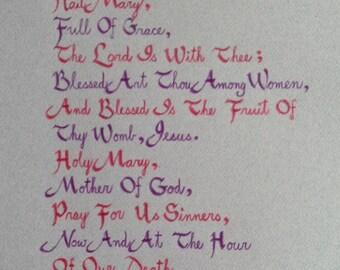 100% Original Handmade Calligraphy -- Hail Mary, Catholic Art, Prayer, Religious Art