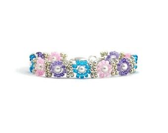 Girls Beaded Bracelet - Childrens Jewelry - Daisy Bracelet - Seed Bead Bracelet - Kids Jewelry - Pearl Bracelet - Multi Color Bracelet