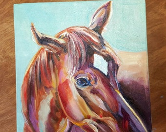 Chestnut Horse Painting, Horse profile, horse oil painting, red horse, colorful horse, equine art, Equestrian Art