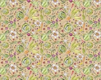 Garden Girls - Per Yd - Cori Dantini - Blend Fabrics - SEWWW Cute! Vegggies on Green