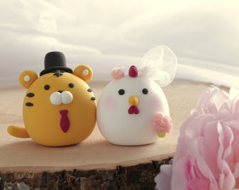 Tiger and Chicken, Rooster  wedding cake topper---Chiness Zodiac wedding cake topper