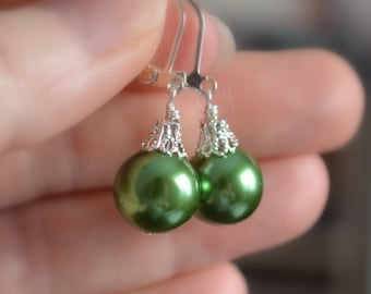Dark Green Earrings, Large Glass Pearls, Christmas Balls, Silver Plated Lever Earwires, Fun Holiday Jewelry