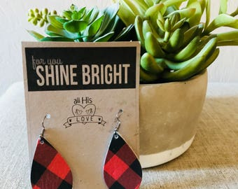 Red Buffalo Plaid Leather Earrings