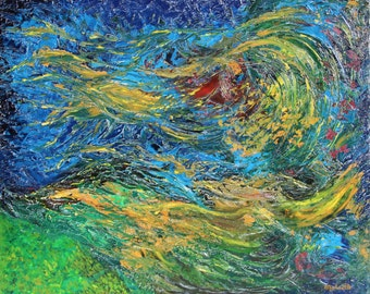 "Abstract oil on canvas painting. ""The unconscious meanders"", painting knife blue, yellow, red, green. wall art"
