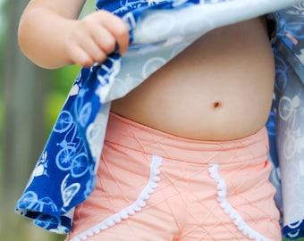 Tess Tulip Shorts, baby shorts pattern, baby sewing patterns, PDF Sewing Pattern, shorts girl toddler, sewing pattern pdf, sewing patterns