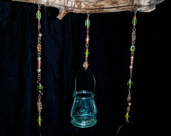 Rustic Driftwood Hanging Candle Holder