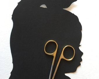 Silhouette Art: Unique Gift Custom Silhouette Picture, Custom Hand Cut Silouhette Portrait, Silouhette by Elle