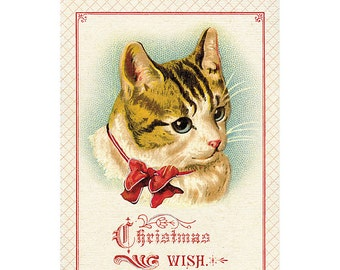 Christmas Wish Holiday Greeting Card by Cavallini to Mail or for Framing, Collage, Scrapbooking, Paper Arts and MORE PSS 2724
