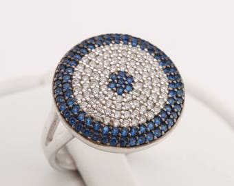 Protect Evil Eye Turkish Nazar Handmade 925 Sterling Silver Round Cut Sapphire White Topaz Rhodium Ring for Gift for Her Size