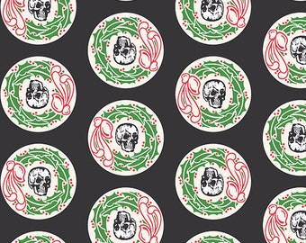 Skull Fabric, Halloween, Christmas Fabric - Chillingsworth Christmas Wreath by Echo Paper for Andover 8034 Black - Priced by the Half yard