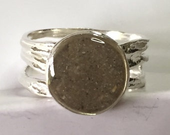 Solidified Ashes Ring - .925 Sterling Silver Pet Cremation Ash Jewelry Sterling Silver Textured band Ring