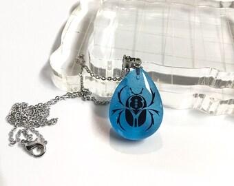 Scarab pendant necklace, glow in dark jewelry, Scarab jewelry, Egyptian symbol jewelry, Beetle pendant, bug jewelry, silhouette jewelry