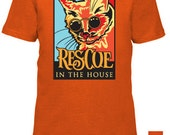 Youth 'Rescue in the House' Cat Tee, available in white and orange