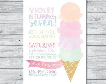 Ice Cream Party Invitation, DIY Invitation, Digital Invitation, Custom Invitation