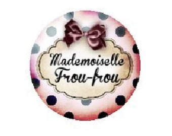 25mm cabochon mademoiselle frou-frou (Pink)