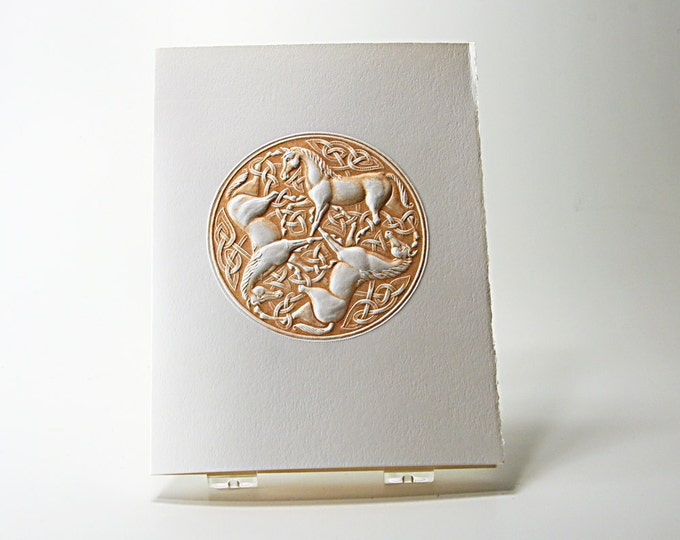 Celtic Horse Knot Card. Letterpress. Embossed. Single Card. Blank Inside.
