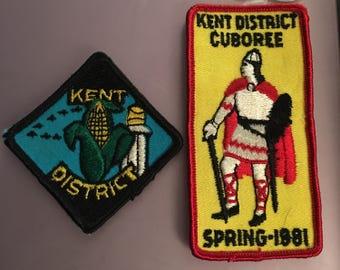 2 Vintage Scouts Canada Kent District Patches